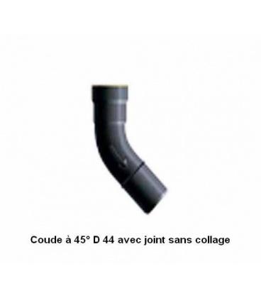 Coude à 45° diamètre 44 à joints pour aspiration centralisée