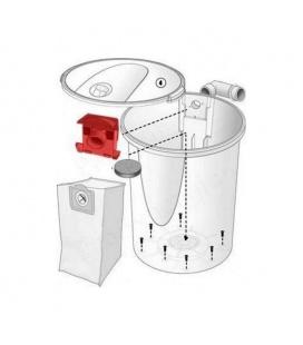 Détail support de sac pour aspirateur central Dyvac