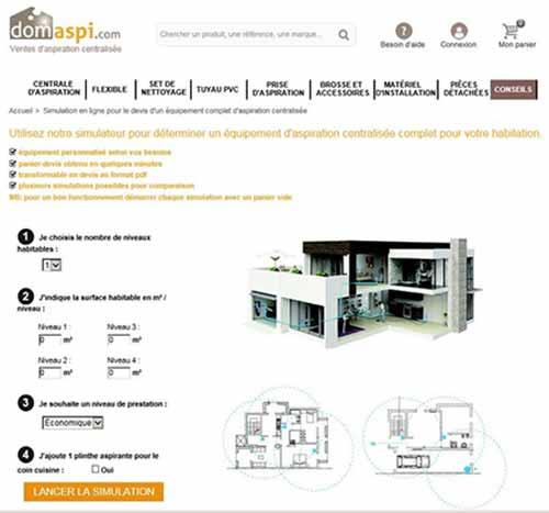 Simulateur Domaspi prix et devis aspiration centralisée