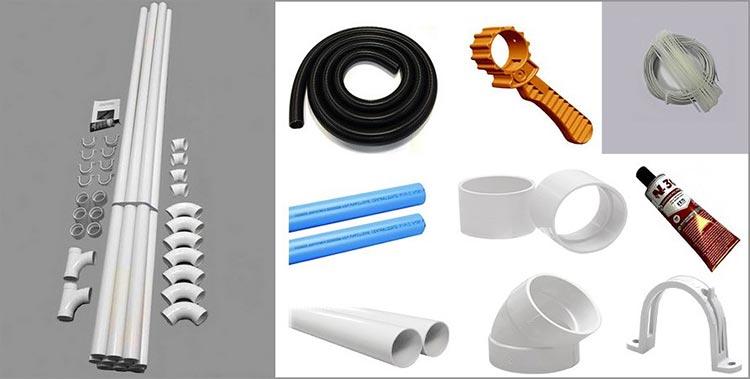 Tuyauterie, tubes et accessoires PVC d'aspiration centralisée